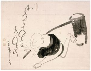 Hotei with a Mallet. Ink on paper, 40.9 x 52.4 cm. Manyoan Collection.