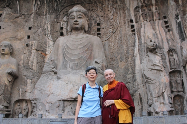 At Longmen caves with May Ling
